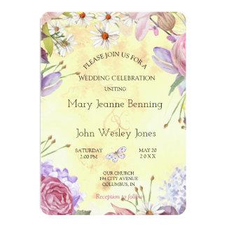 ロマンチックな花の明るい結婚式 12.7 X 17.8 インビテーションカード