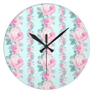 ロマンチックな花の柱時計のローズピンクの青 ラージ壁時計