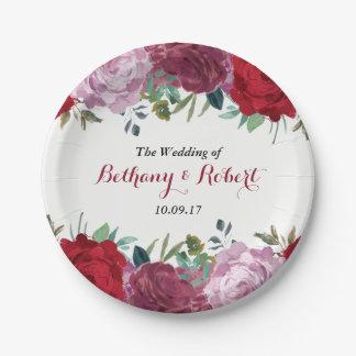 ロマンチックな花の結婚式のコレクション ペーパープレート