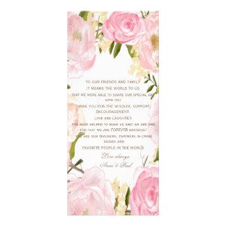 ロマンチックな花の結婚式はプログラム感謝していしています ラックカード