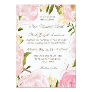 ロマンチックな花の結婚式招待状 カード