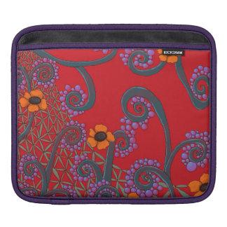 ロマンチックな花の赤いiPadの袖 iPadスリーブ