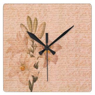 ロマンチックな花ユリ スクエア壁時計