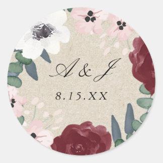 ロマンチックな花模様のステッカー ラウンドシール
