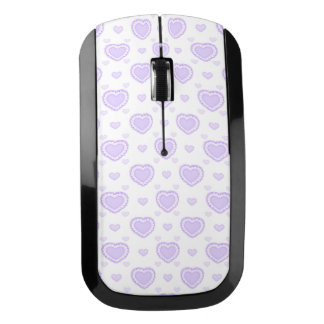 ロマンチックな薄紫及び白いハート ワイヤレスマウス