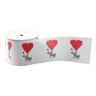 ロマンチックな象およびバレンタイン愛ハート グログランリボン