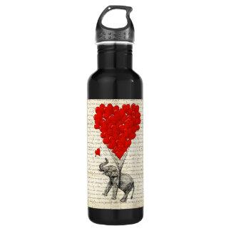 ロマンチックな象及びハートの気球 ウォーターボトル
