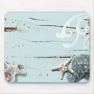 ロマンチックな貝殻のビーチ結婚式の好意 マウスパッド