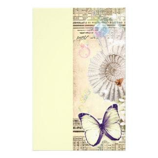 ロマンチックな貝殻の蝶植物の結婚式 便箋
