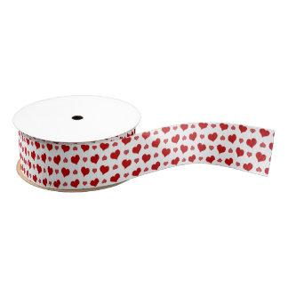 ロマンチックな赤いハートは縞で飾り、 グログランリボン
