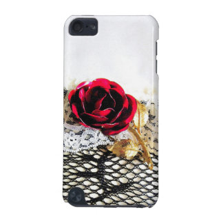 ロマンチックな赤いバラおよび白のレース iPod TOUCH 5G ケース