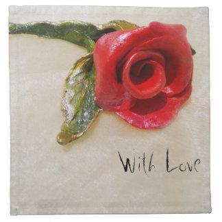 ロマンチックな赤いバラのナプキン ナプキンクロス
