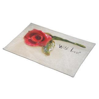 ロマンチックな赤いバラのランチョンマット ランチョンマット