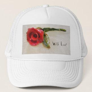 ロマンチックな赤いバラの帽子 キャップ