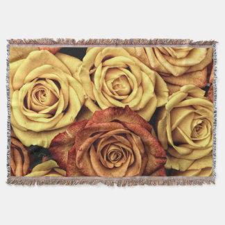 ロマンチックな黄色バラのブランケット スローブランケット