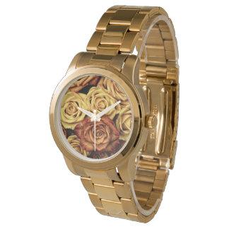 ロマンチックな黄色バラの腕時計 腕時計