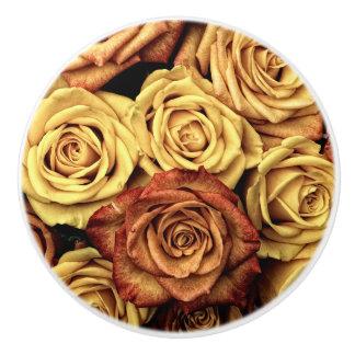 ロマンチックな黄色バラの陶磁器のノブ セラミックノブ