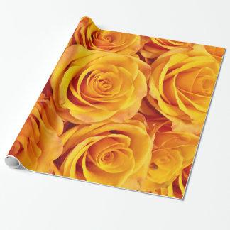 ロマンチックな黄色バラ ラッピングペーパー