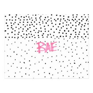 ロマンチックなBAEのタイポグラフィの黒のピンクの水彩画の点 ポストカード