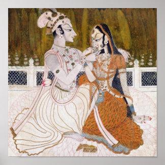 ロマンチックなKrishnaおよびRadhaの絵画 ポスター