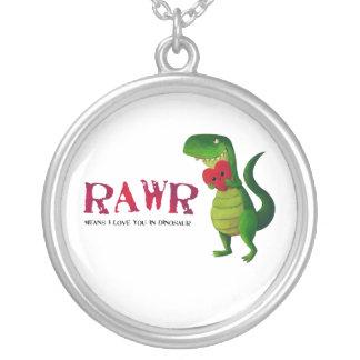ロマンチックなRAWRのTレックスの恐竜 シルバープレートネックレス