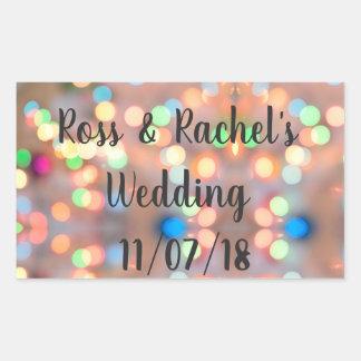ロマンチック及びフェスティバル結婚式またはパーティーのステッカーをつけます 長方形シール