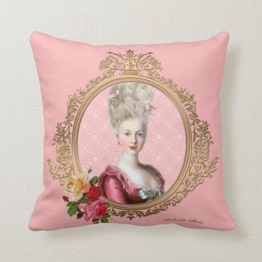 ロマンティックなマリー・アントワネットの肖像クッション・ピンク クッション