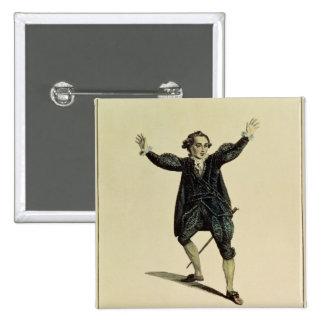 ロミオのパブのキャラクターのHolman氏。 1784年 5.1cm 正方形バッジ