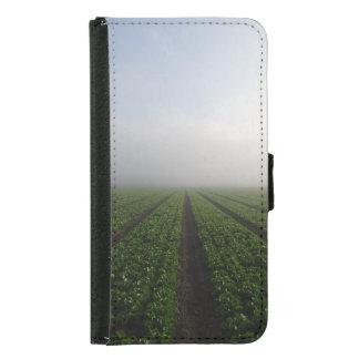 ロメイン・レタス分野の霧深い朝の写真の箱 GALAXY S5 ウォレットケース