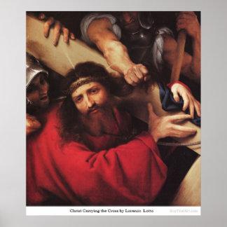 ロレンツォ・ロット著十字を運んでいるキリスト ポスター