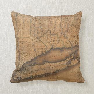 ロングアイランドおよびコネチカット(1815年)のヴィンテージの地図 クッション