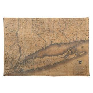 ロングアイランドおよびコネチカット(1815年)のヴィンテージの地図 ランチョンマット