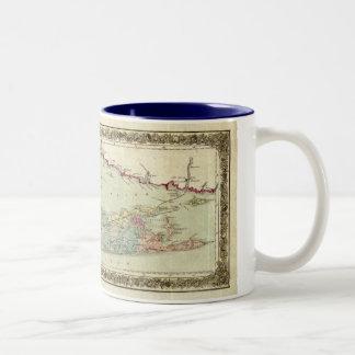 ロングアイランドの歴史的な1855-1857旅行者の地図 ツートーンマグカップ