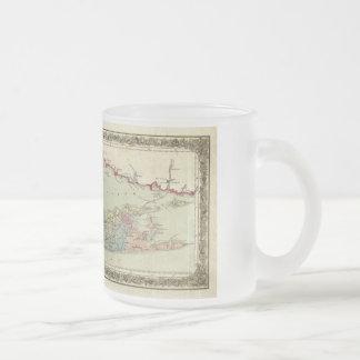 ロングアイランドの歴史的な1855-1857旅行者の地図 フロストグラスマグカップ