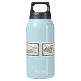 ロングアイランドの歴史的な1855-1857旅行者の地図 断熱ウォーターボトル