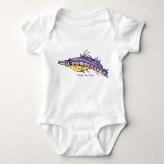ロングノーズHawkfishのかわいい漫画の魚の乳児 ベビーボディスーツ