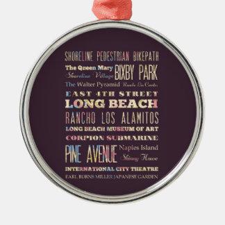 ロングビーチ、カリフォルニアの有名な場所 メタルオーナメント