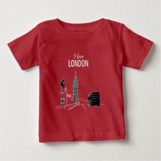 ロンドンのエレガントでスタイリッシュでモダンなスケッチのビッグベンのカッコいい ベビーTシャツ