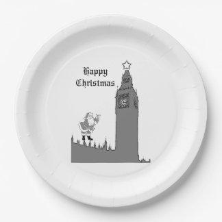 ロンドンのクリスマスの紙皿 ペーパープレート