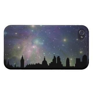 ロンドンのスカイラインのシルエットの都市景観 iPhone 4/4Sケース