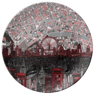 ロンドンのスカイラインの抽象芸術 磁器プレート