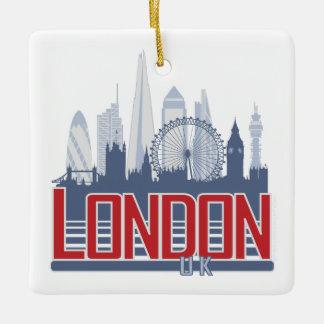 ロンドンのスカイラインの正方形のオーナメント セラミックオーナメント