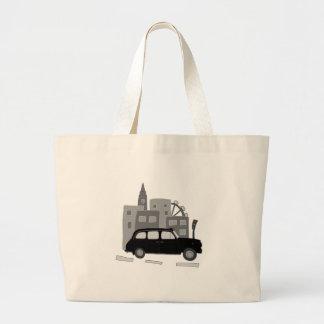 ロンドンのタクシー場面 ラージトートバッグ