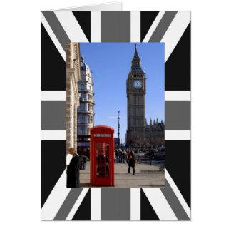 ロンドンのビッグベンそして赤い電話ボックス カード