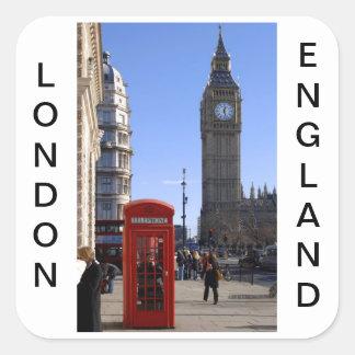 ロンドンのビッグベンそして赤い電話ボックス スクエアシール