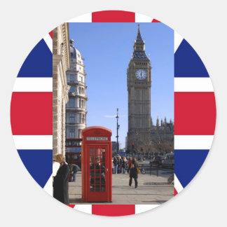 ロンドンのビッグベンそして赤い電話ボックス ラウンドシール