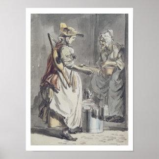 ロンドンの叫び: Milkmaid、c.1759 (ペン及びインクブラシ、 ポスター
