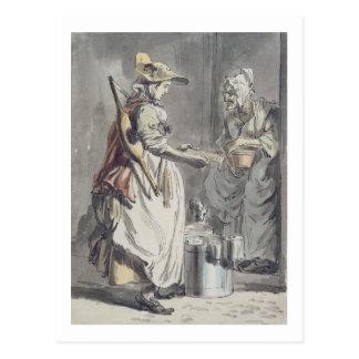 ロンドンの叫び: Milkmaid、c.1759 (ペン及びインクブラシ、 ポストカード