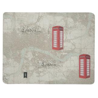 ロンドンの地図の赤い公衆電話ボックスジャーナル ポケットジャーナル