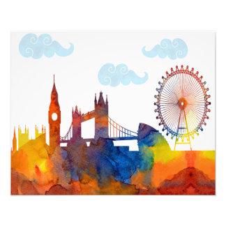 ロンドンの日没の水彩画の抽象芸術のスカイラインのプリント フォトプリント